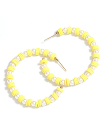 Fashion Yellow Imitation Pearl Soft Ceramic Small Round C-shaped Earrings