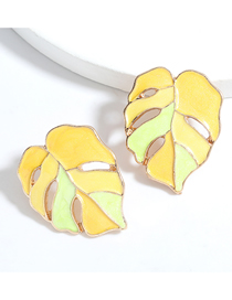 Fashion Yellow Alloy Dripping Leaf Hollow Earrings