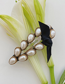 Fashion Pearl Round Clip Pearl Bow Geometric Alloy Hairpin
