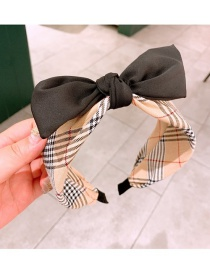 Fashion Black Plaid Bow Stitching Contrast Color Wide-brim Hair Band