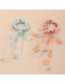 Fashion Color Mixing Bowknot Polka Dot Net Yarn Ribbon Hair Rope Set