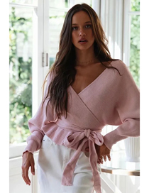 Fashion Pink Cross V-neck Bat Sleeve Sweater