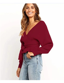 Fashion Red Cross V-neck Bat Sleeve Sweater
