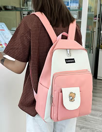 Fashion Pink Stitching Contrast Letter Logo Backpack