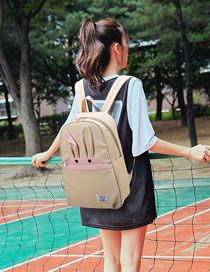 Fashion Beige Bunny Stitching Contrast Backpack
