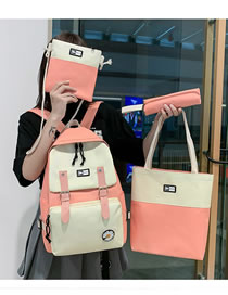 Fashion Pink Stitching Contrast Color Backpack Four-piece Set