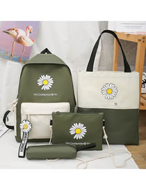 Fashion Dark Green Canvas Daisy Print Hit Color Four-piece Backpack