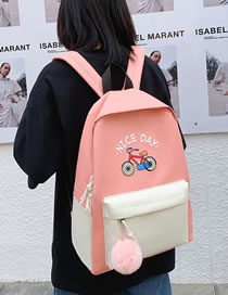 Fashion Pink Four-piece Bicycle Print Stitching Contrast Color Backpack