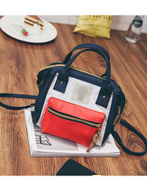 Fashion Dark Blue With Red Canvas Zipper Stitching Crossbody Backpack