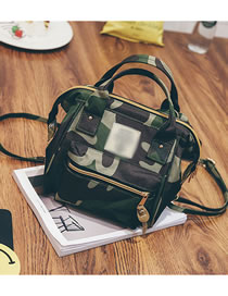 Fashion Camouflage Canvas Zipper Stitching Crossbody Backpack