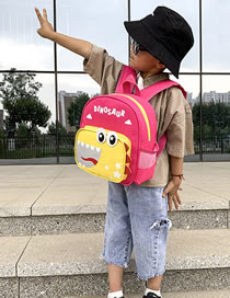 Fashion Dark Pink Dinosaur Print Stitching Contrast Color Childrens Backpack