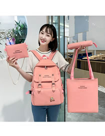 Fashion Pink Four-piece Belt Buckle Letter Printed Backpack