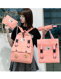 Fashion Pink Buckle Stitching Nylon Cloth Four-piece Backpack