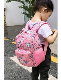 Fashion Pink Unicorn Print Contrast Color Kids Backpack