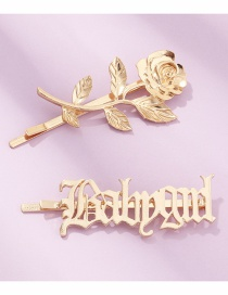 Fashion Golden Color Flower Alloy Letter Hollow Hairpin Set