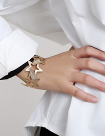 Fashion Gold Color Hollow Five-pointed Star Alloy Bracelet