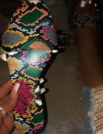 Fashion Color Snake Print Flat Bottom Large Size One-word Sandals And Slippers