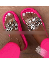 Fashion Rose Red Transparent Film Rhinestone Sandals And Slippers