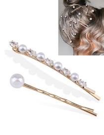 Fashion Golden Two-piece Suit Copper Inlaid Zircon Pearl Geometric Shaped Hairpin Set