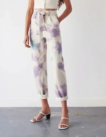 Fashion Color Lilac Tie-dye Loose Trousers
