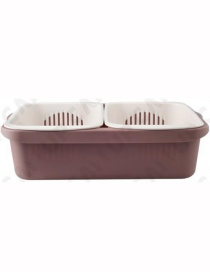 Fashion Crimson Multifunctional Double-layer Drain Basket With Lid