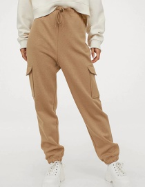 Fashion Ginger Pants With Fleece Belt And Elastic Waist With Big Pockets