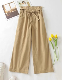 Fashion Khaki Twill Wide-leg Trousers With Wood Ears