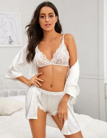 Fashion White Four-piece Lace Mesh Underwear Pajamas