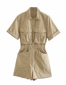 Fashion Khaki Pocket And Receive Waist Jumpsuit