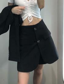 Fashion Black Double-breasted Slit Shorts Skirt