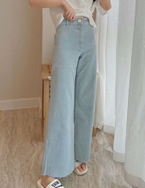 Fashion Light Blue High-rise Frayed Denim Wide-leg Trousers