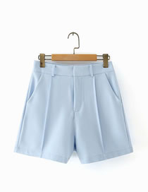 Fashion Blue Loose Suit Straight Shorts
