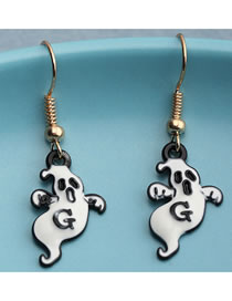 Fashion White Ghost Dripping Alloy Earrings
