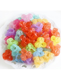 Fashion Opp Bag-jelly Color Bow Tie 50 Pcs Resin Love Crown Mouse Bunny Clip Set