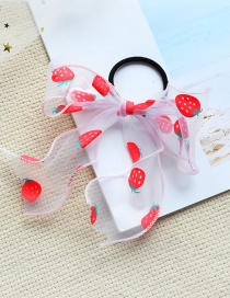 Fashion Strawberry Bow-white Net Yarn Bow Printed Childrens Elastic Hair Rope