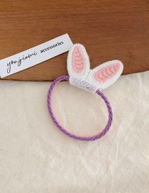 Fashion White Rabbit Ears Knitted Animal Ears Hit Color Elastic Hair Rope
