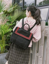 Fashion Black Canvas Flap Stripe Contrast Backpack