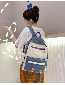 Fashion Blue Send Pendant Stitching Contrast Badge Backpack