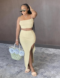 Fashion Beige Sling Slim Tank Top High Waist Bag Butt Split Skirt Set