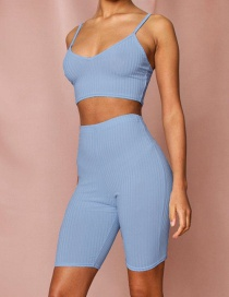 Fashion Blue High Waist Five-point Pants Suit
