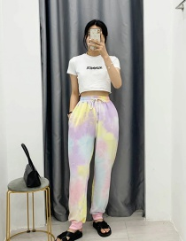 Fashion Purple Tie-dyed Elastic Waist Tethered Sweatpants