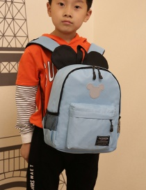 Fashion Sky Blue Mickey Stitching Nylon Fabric Contrast Color Childrens Backpack