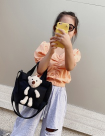Fashion Black Graffiti Plush Bear Canvas Shoulder Bag