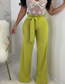 Fashion Wood Green Lace-up Straight High Waist Pants