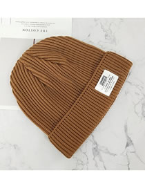 Fashion Coffee Color Letter Curled Cloth Logo Knitted Hat