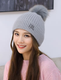 Fashion Gray Rabbit Fur Double Layer Thick Wool Ball Knitted Hat