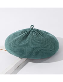 Fashion Peacock Blue Knitted Solid Color Wool Beret