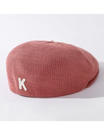 Fashion Red Bean Paste Letter Knitted Solid Color Beret