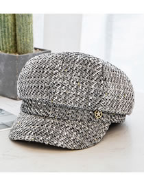 Fashion Black Flower Knitted Gold Wire Diamond-studded Five-pointed Star Octagonal Hat