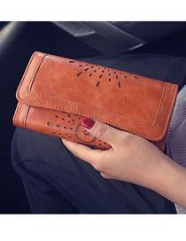 Fashion Brown Long Cutout Flap Wallet